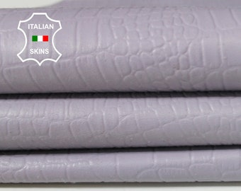 LILAC CROCODILE light lavender embossed textured soft Italian Lambskin Lamb Sheep leather 7 skins skins hides total 25sqf 0.5mm #A6531