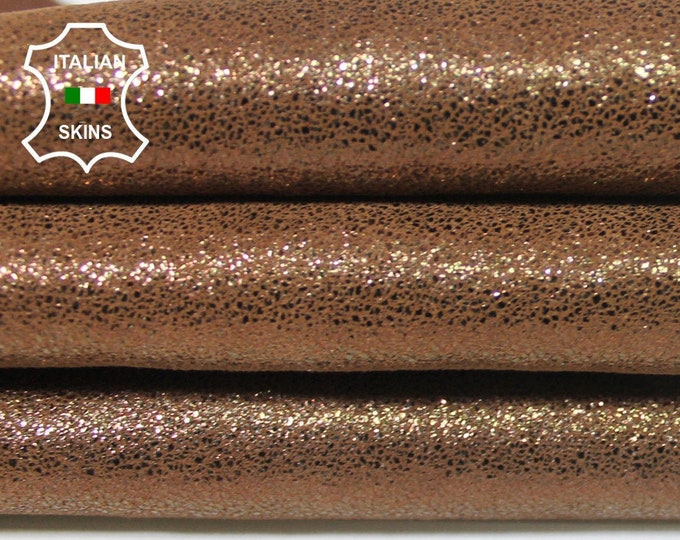 METALLIC PEARLIZED old gold on brown shimmer thick Italian Lambskin Lamb Sheep leather 2 skins hides total 8sqf 1.4mm #A5744