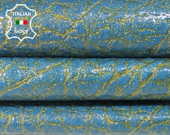 PEARLIZED PATENT BLUE textured shimmer Italian Lambskin Lamb Sheep leather material sewing crafts skin skins 6-8sqf 0.9mm #A6393
