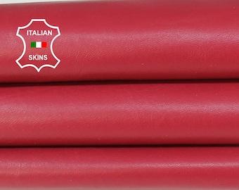 RASPEBERRY CERISE RED Italian genuine Lambskin Lamb Sheep leather bookbinding crafts skin hide skins hides 6sqf 0.9mm #A7129