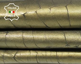WASHED BRASS Bronze CROCODILE scales texture textured grey genuine thick Italian Lambskin Lamb Sheep leather skin hide 7sqf 1.2mm