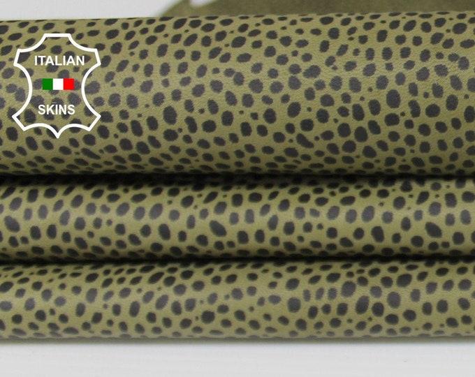 OLIVE GREEN printed print soft Italian Lambskin Lamb Sheep leather skin hide skins hides 5sqf 0.5mm #A6486