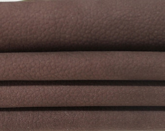 COCOA BROWN NABUCK pebble grain grainy soft Italian Calfskin Calf cow leather material for sewing skins hides 4-7sqf 0.8mm #A6365