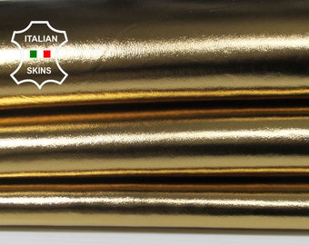 METALLIC OLD GOLD smooth Italian Lambskin Lamb Sheep leather skin skins hide hides 5-8sqf 0.7mm