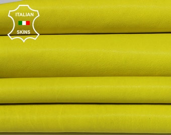 WASHED BRGHT YELLOW lemon vegetable tan Italian Goatskin Goat leather bookbinding skins hides skin hide 7sqf 0.8mm #A6506