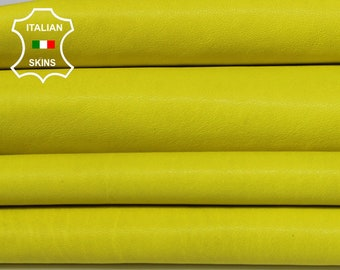 WASHED BRIGHT YELLOW vegetable tan Italian genuine Goatskin Goat wholesale leather skins material for sewing high quality 0.5mm to 1.2mm