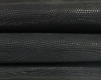 BLACK REPTILE EMBOSSED genuine Italian Goatskin Goat leather 12 skins hides total 50+sqf 1.1mm #GALI100