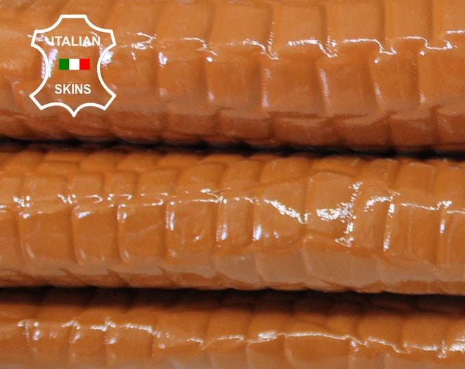 PATENT CARAMEL TAN crocodile shiny textured embossed strong Italian Goatskin Goat leather skin skins hide hides 4sqf 0.6mm #A6638