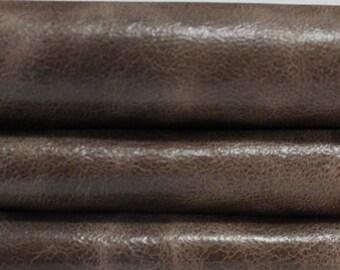 VINTAGE BROWN SHINY 2 tones  washed antiqued vegetable tan Goatskin Goat Italian leather skin skins hide hides 6sqf  #A3020