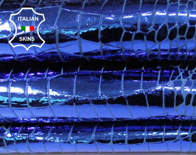 METALLIC BLUE crocodile print texture Italian textured Goatskin Goat leather skin skins hides 2+sqf 0.7mm #A6258