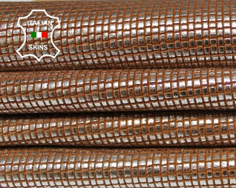 WOVEN BROWN Metallic Silver distressed vintage look textured embossed Lambskin Lamb Sheep Leather 2 skins hides total 13sqf 0.8mm #A7081