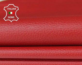 RED PEBBLE GRAINY grain textured Italian genuine Goatskin Goat Leather skins hides 0.5mm to 1.2mm