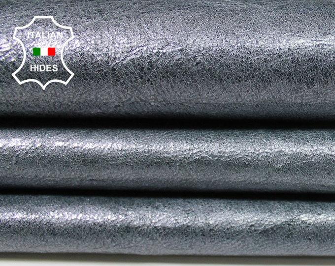 METALLIC SILVER DISTRESSED crinkled antiqued crinkle Italian Goatskin Goat leather skin hide skins hides 5sqf 0.7mm #A5140