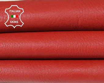 GRAINY RED thick rough Italian Goatskin Goat Leather bookbinding crafts 5 skins hides total 25sqf 1.5mm #A6420