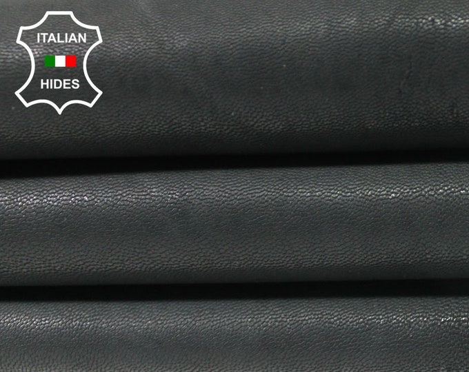 NATURAL ANTHRACITE BLACK vegetable tan Italian Goatskin Goat leather material for sewing 2 skins hides total 9sqf 1.4mm #A4694
