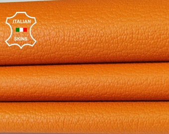 ORANGE PEBBLE grainy grain textured Italian Goatskin Goat leather material for crafts skin skins hides 5-7sqf 0.5mm #A6555
