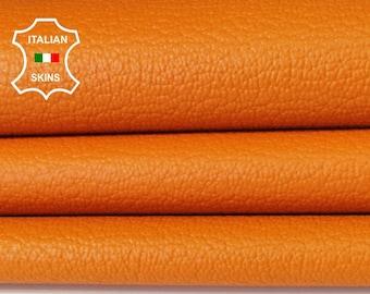 ORANGE PEBBLE GRAINY grain textured Italian genuine Goatskin Goat Leather skins hides 0.5mm to 1.2mm
