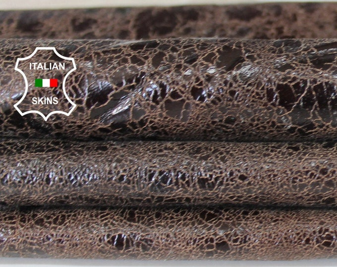 BROWN CRACKED crackle shiny textured vintage look Italian Lambskin Lamb Sheep leather skin hide skins hides 5sqf 0.6mm #A6677