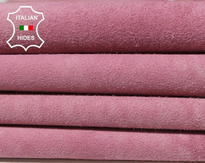 PINK SUEDE stonewash stone wash vintage look soft Italian Lambskin Lamb Sheep Leather skin hide 8sqf 0.9mm #A5036