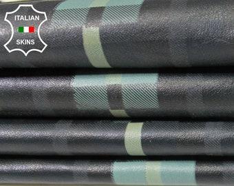 PLAID DARK TEAL print soft Italian Lambskin Lamb sheep leather 4 skins hides total 28sqf 0.5mm #A5466