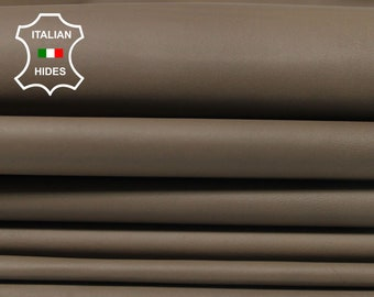 NATURAL BROWN KHAKI thin soft Italian Calfskin Calf cow leather material for sewing 7 hides skins total 42sqf 0.4mm #A4799