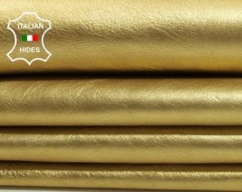 METALLIC GOLD CRINKLE crinkled Italian Lambskin Lamb Sheep leather skin hide skins hides 4sqf 0.6mm #A4399