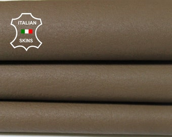 KHAKI BROWN with ivory Wool backside soft Italian Lambskin Lamb Sheep leather skin hide hides skins 5sqf #A5528