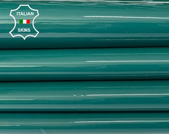 VENICE GREEN PATENT shiny wet look Italian calfskin calf cow leather hide hides skin pack 2 skins total 6sqf 1.1mm #A8261