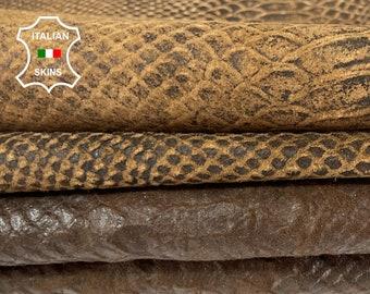PACK OF 2 SKINS vegetable tan vintage stonewash look snake embossed brown Italian lambskin sheep leather skins hide 18sqf 0.7mm #A8006