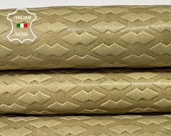 BEIGE TEXTURED EMBOSSED vintage look vegetable tan Italian goatskin goat leather skin skins hide hides 5+sqf 0.8mm #A8387
