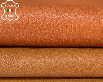 BROWN PACK 3 SKINS different shades rough grainy vegetable tan thick Italian goatskin goat leather pack 3 skins total 20sqf 1.2mm #A8458
