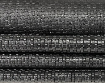BLACK WOVEN textured soft Italian Lambskin Lamb Sheep leather skin skins hide hides 8sqf 0.8mm #A7603