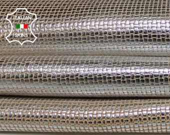 WOVEN Metallic Silver distressed on Sand vintage look textured embossed Lambskin Lamb Sheep Leather 2 skins hides total 15sqf 0.8mm #A7082