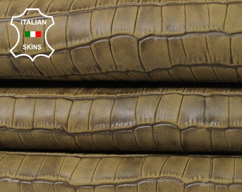 OLIVE ANTIQUED CROCODILE Embossed army textured vegetable tan Italian Lambskin Lamb sheep leather 2 skins total 5sqf 0.5mm #A5473