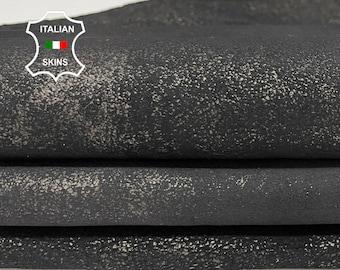 METALLIC PEWTER crackled distressed stonewash vintage look Italian Lambskin Lamb Sheep leather skin skins 9-12sqf 1.2mm #A7726