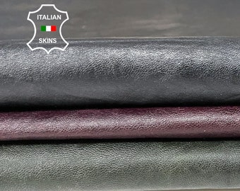 PACK DIFFERENT SHADES oily wine & bottle green ,dark blue antiqued rustic Lambskin Lamb leather pack 3 skins total 15sqf 0.6-0.7mm #A8478