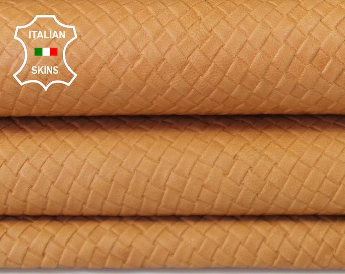 WOVEN SAND TAN Naked Natural textured embossed vegetable tan Italian Goatskin Goat Leather skin skins hide hides 5-8sqf 0.8mm #A6644