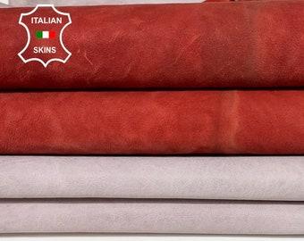 NUBUCK RED & Light MAUVE antiqued rustic washed vegetable tan Italian Goatskin Goat leather Pack 2 skins total 14sqf 1.2mm #A8482