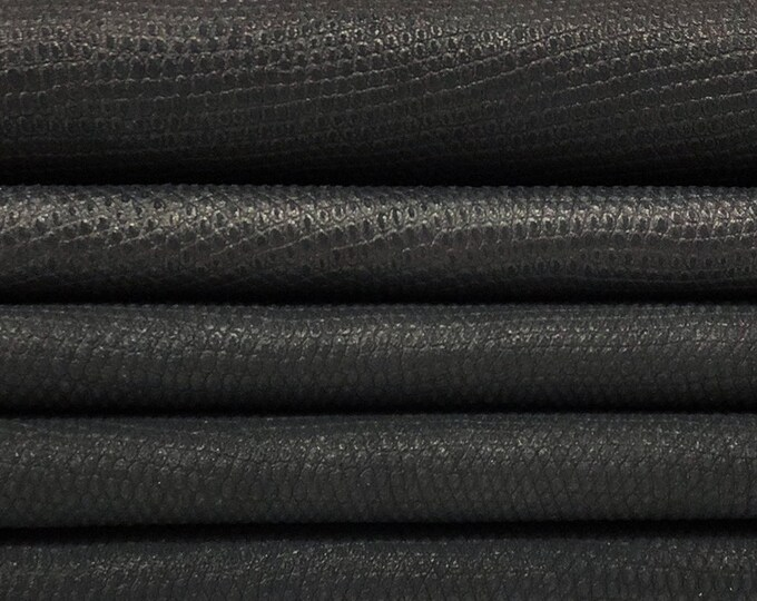 BLACK REPTILE EMBOSSED genuine Italian Calf Calfskin leather 6 skins hides total 38sqf 0.9mm #GACA1