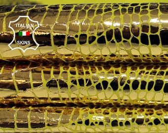 METALLIC GOLD CROCODILE on yellow Italian Goatskin Goat leather material for crafts skin hide skins hides 2sqf 0.6mm #A6335