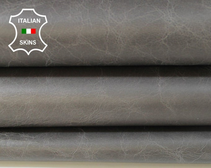 TAUPE GRAY CRINKLED crinkle antiqued vintage look strong Italian Goatskin Goat leather 3 skins hides total 18sqf 1.0mm #A5980