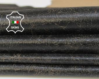 BLACK CRACKLE VINTAGE look crackled Italian Lambskin Lamb Sheep leather 2 skins hides total 10sqf 0.6mm #A6878