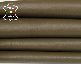 ARMY OLIVE green brown soft Italian Lambskin Lamb Sheep leather material sewing crafts 3 skins hides total 20sqf 0.8mm #A6117