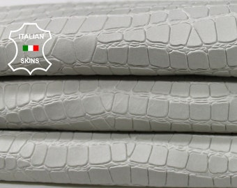 LIGHT GREY ice white naked Crocodile embossed textured vegetable tan natural Lambskin Lamb Sheep leather skins 6-9sqf 0.8mm #A7099