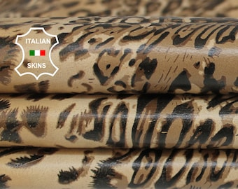 LEOPARD CAMEL SAND print textured on ivory Italian Lambskin Lamb Sheep leather skin hide skins hides 9sqf 0.6mm #A6864