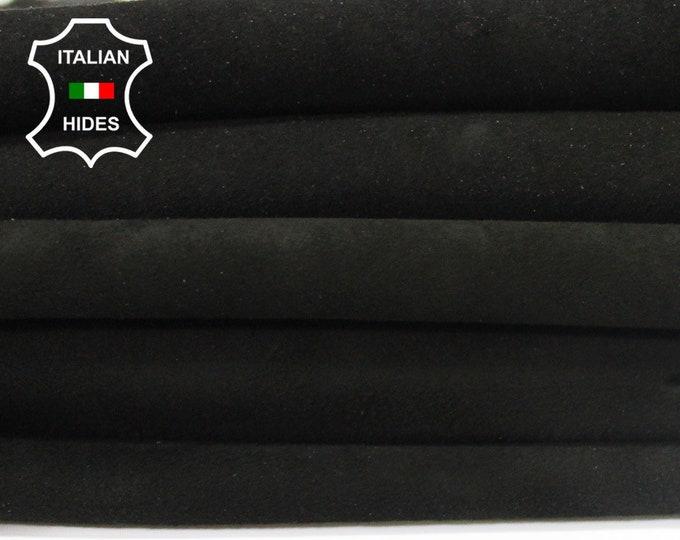 BLACK STRETCH SUEDE soft Italian genuine Lambskin Lamb Sheep leather 8 skins hides total 25sqf 0.6mm #A4128