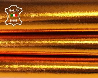 METALLIC ORANGE MANDARINE Italian Lambskin Lamb Sheep leather material for sewing crafts skin skins 5-7sqf 0.8mm #A6784