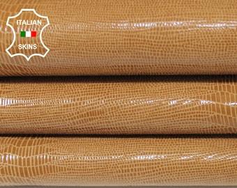 TAN TEJUS REPTILE texture print textured shiny sand Italian Goatskin Goat leather skin hide skins hides 2+sqf 0.7mm #A6795