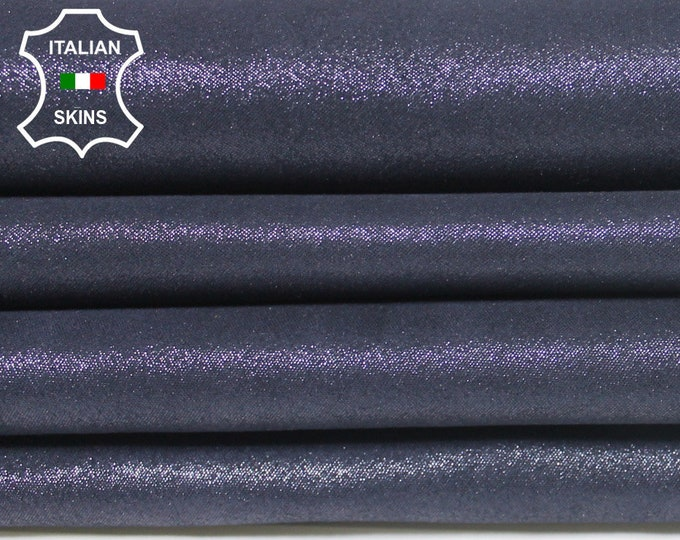 PEARLIZED Dark BLUE SUEDE Shimmer Italian Lambskin Lamb Sheep Leather 2 skins hides total 6sqf 0.6mm #A5710