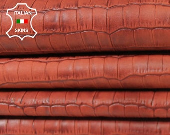 BRIC ANTIQUED CROCODILE Embossed brown texture textured vegetable tan Italian Lambskin Lamb sheep leather 3 skins total 10sqf 0.5mm #A5469